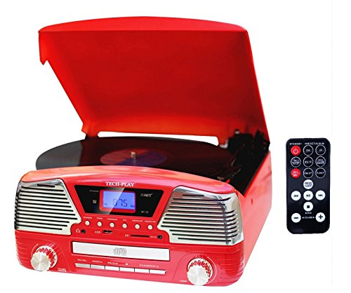 TechPlay ODC35, 3 Spead turntable, programmable MP3 CD player, USB/SD, radio & remote control - Warehouse Retro 30