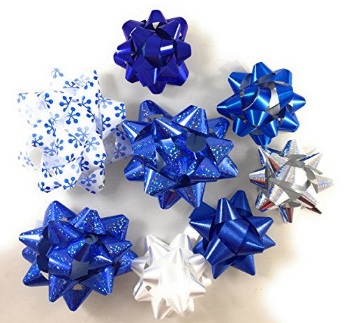 20 Assorted Stick & Peel Gift Bows (shades of Blue, Silver, White)