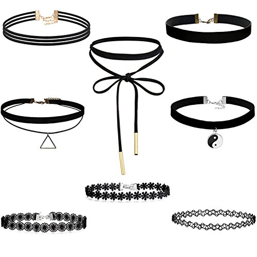 adecco-llc-8-pieces-choker-necklace-set-stretch-velvet-classic-gothic-tattoo-lace-choker-necklaces-b