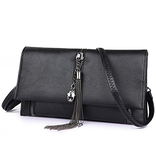 Purse for Black Fashion Bag Crossbody T16691 Clutch Leather LIZHIGU Teen Zipper Girls Shoulder Bag Women's WnqvFY1RF