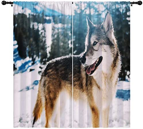 Deal of the week: boenkj Wolf Curtains,Wildness Animal Wolf Pine Trees Winter Snow Natural Landscape Decorative Curtains 2 Panels Set,Bedroom Living Room Kid's Room Animal Print Curtains White Gray 104″x84″