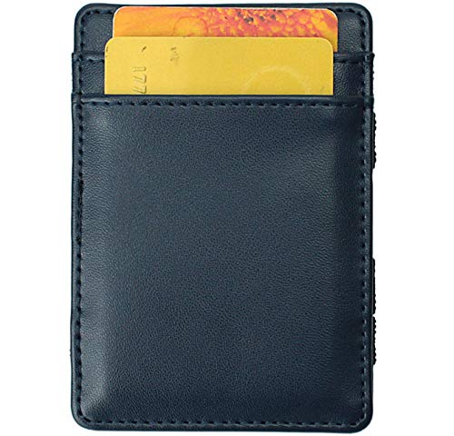 Magic Wallet - Magical Flip, for Men Women Kids - Genuine Leather Thin Wallet (Dark Blue) ()