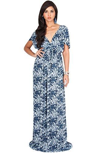 Silk Dress Empire - KOH KOH Plus Size Womens Long Kimono Short Sleeve Floral Lace Print Cocktail Elegant Evening Semi Formal Summer V-Neck Flowy Cute Sundress Gown Gowns Maxi Dress Dresses, Navy Blue 2X 18-20