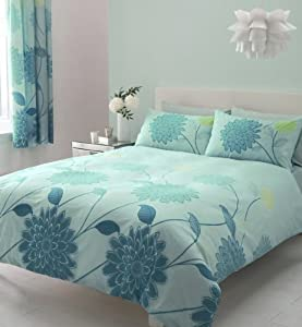 Aqua Teal King Size Duvet Set With Matching Curtains  By Homemaker Bedding
