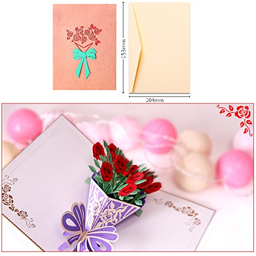 Dreamen mother's day pop-up cards craft 3D Greeting Card, mum's birthday Wedding Invitation Card Lovers birthday Couple's Happy Anniversary (bouquet-rose) ()