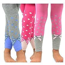 TeeHee Kids Girls Fashion Cotton Leggings 3 Pair Pack