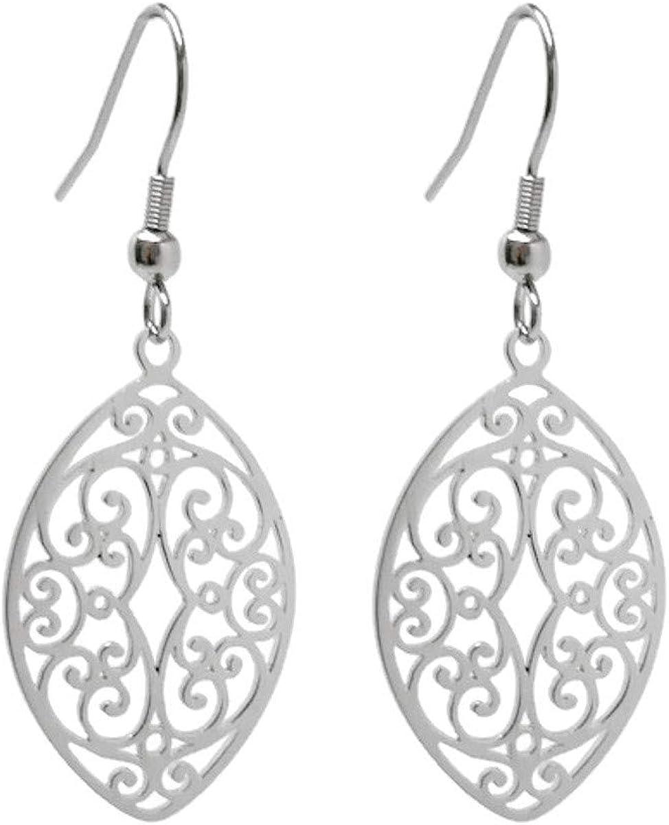 Stainless Steel Filigree Polished Leaf Dangle Cutout Earrings for Sensitive Ears   Jewelry for Women