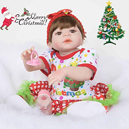 LtrottedJ Christmas Realistic Wearing Crown 22'' Reborn Baby Doll Soft Silicone Vinyl (H)