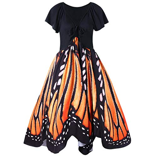 ★QueenBB★ Women's Vintage Butterfly Print Short Sleeves Lace Up A-Line Dress High Waist Irregular Swing Dress Orange -