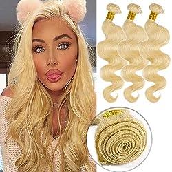 "#613 Bleach Blonde Human Hair Bundles Body Wave Unprocessed Brazilian Virgin Human Hair Sew in Extensions for Women Wavy Curly Hair Weave 100g/Lot 10"""