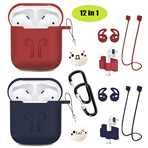 Airpods Case 12 in 1 Airpods Accessory kit Protective Silicone Cover and Skin Compatible Apple Airpods Portable Charging case/Airpod Ear Hook/Airpods Tips/Airpods Watch Band(Red +Blue)