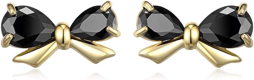 Jyuter12 Pendientes De Oro Con Lazo Negro Para Mujer Pendientes Puros Dorados Regalo De San Valentín