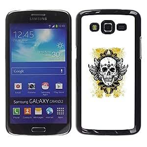 MobileHut / Samsung Galaxy Grand 2 SM-G7102 SM-G7105 / Yellow Gold Biker Ink Tattoo Skull / Delgado Negro Plástico caso cubierta Shell Armor Funda Case Cover