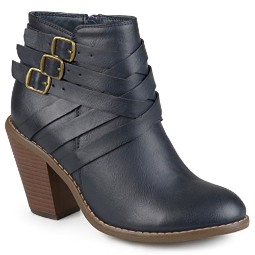 Fabric Ankle Strap - Journee Collection Women's Multi Strap Ankle Boots (7, Navy)