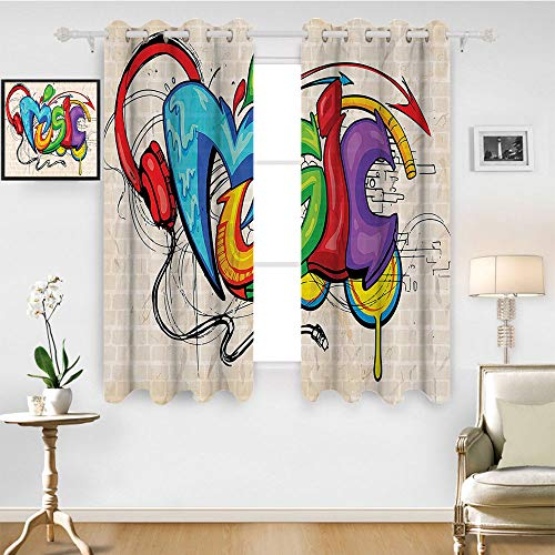 SATVSHOP Window Curtain Fabric - 108W x 72L Inch-Drapes for Living Room.Music Illustration of Graffiti Style Music Lettering Headphon Hip Hop hythm Tempo Hipster Concept