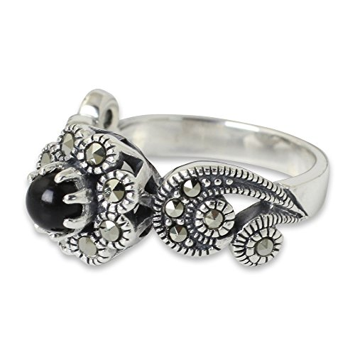 [NOVICA Multi-Gem Marcasite .925 Sterling Silver Floral Ring, 'Moonlight Blossom'] (Marcasite Faceted Onyx Ring)