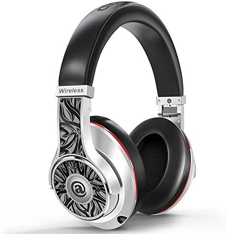 Aladdinaudio Bluetooth Over Ear Headphones, Acura Pro Passive Noise Cancelling Headphones with Mic, Deep Bass Wireless Headset, DJ Headphones Over 25H Playtime for Travel Work PC Cellphone Silver 2