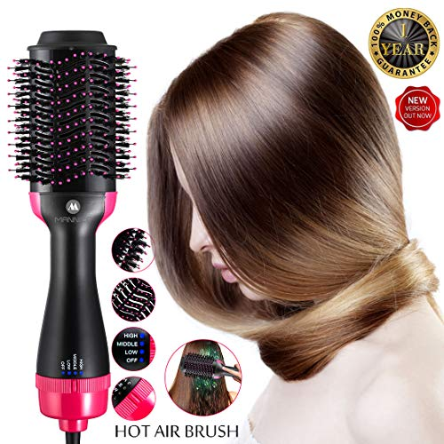 Hot Air Brush One Step Hair Dryer Volumizer Styler Brush,Hair Brush Straightener 2-in-1 Negative Ion Straightening Brush,Salon Reduce Frizz Styling Tools Appliances Hot-Air Brushes Black rose