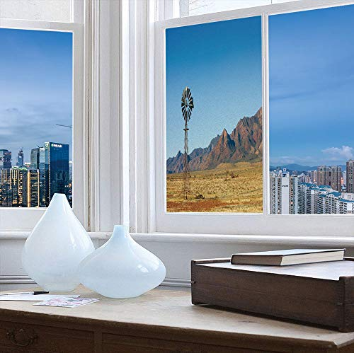 YOLIYANA Stained Glass Window Film,Windmill Decor,for Bathroom Shower Door Heat Cotrol Anti UV,Flinders Ranges South Australia Mountains Barren Land Summer,24''x48''