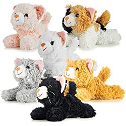 Prextex Pack of 6 Realistic Looking Plush Cats 6 Inches Long