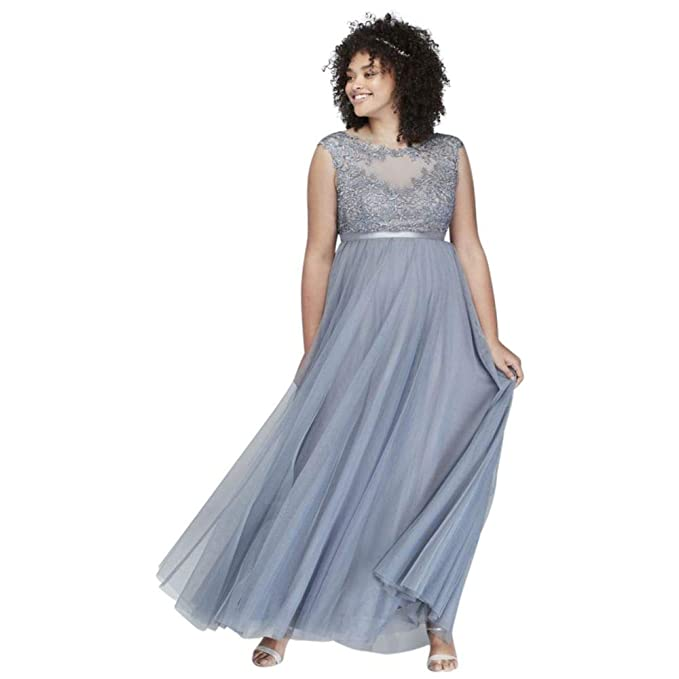 Plus Size Prom Dress with Lace Bodice and Satin Belt Style ...