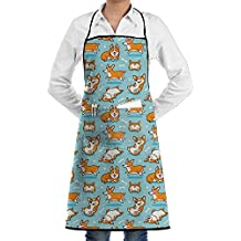 Cute Corgi Bib Apron With Pockets Kitchen Apron Cooking Apron Chef Apron For Cooking Grill Baking And BBQ