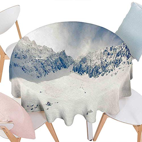 - cobeDecor Winter Printed Round Tablecloth Fantasy Lands on Top of The World with Snowy Cliffs and Stones Alps Tranquil Empty Flannel Round Tablecloth D70 White Blue