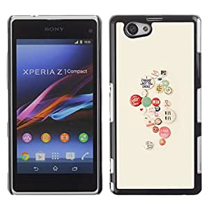 Ziland / Slim Design Case Cover Shel / Activist Cause Smoking Hipster / Sony Xperia Z1 Compact D5503