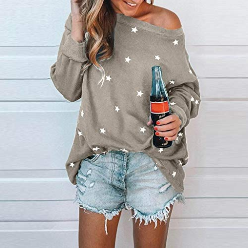 PASATO Women Long Sleeve Tee One shoulder Cotton Star Pattern Sweat T-Shirt Casual Blouses Tops (Gray,XXXXXL=US:XXXXL) by PASATO Blouse For Women (Image #1)