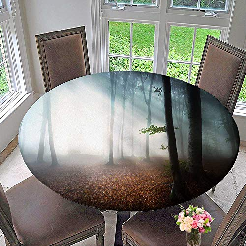 Mikihome The Round Table Cloth First Autumn Days into a Foggy Forest for Birthday Party, Graduation Party 59