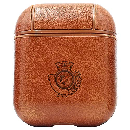 VFC (Vintage Brown) Engraved Air Pods Protective Leather Case Cover - a New Class of Luxury to Your AirPods - Premium PU Leather and Handmade exquisitely by Master Craftsmen