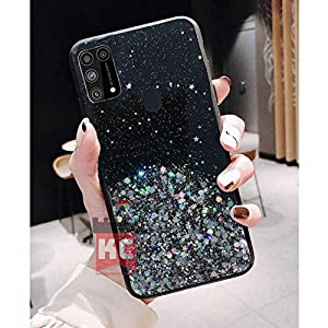 KC Starry Night Dry Non Moving Sparkling Bling Shining Glitter Stars Soft Silicone Back Cover for Samsung Galaxy M31…