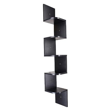 4006fa296f7 ReaseJoy 5 Tiers Zig Zag Wall Corner Shelf Unit Wall Mounted Wood Shelving  Bookcase Storage Display