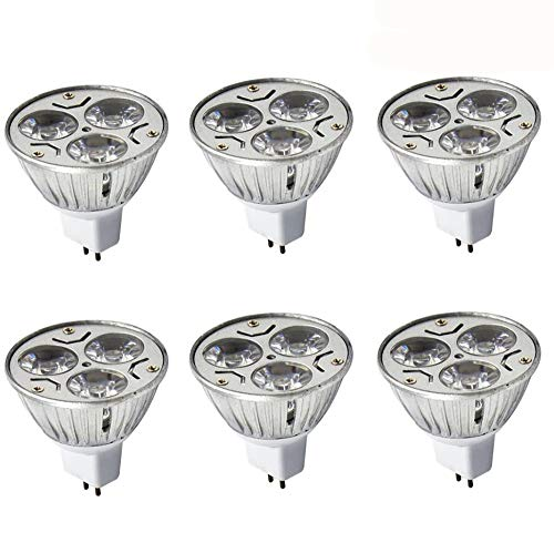 JKLcom MR16 3W LED Bulbs MR16 3W 12V Warm White 2700K Not Dimmable 60 Degree Beam Angle LED Spotlight Bulbs for Landscape Recessed Lighting,35W Halogen Bulbs Equivalent,6 Pack (Base M16)