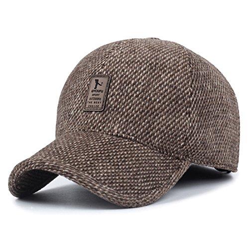 King Star Mens Winter Wool Woolen Tweed Peaked Earflap Baseball Cap (Wool Mens Ball Cap)