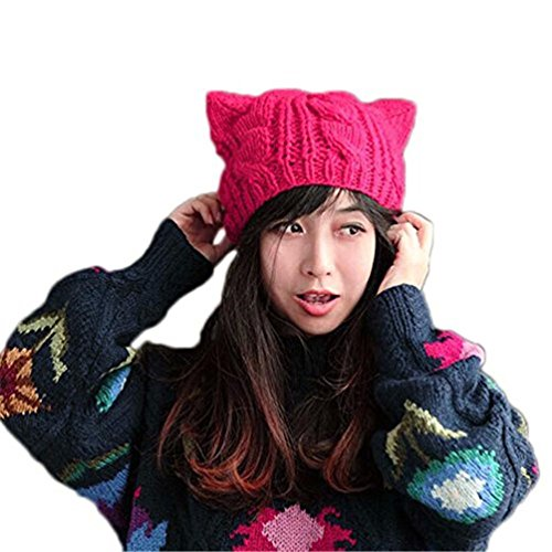 BIBITIME Knit Dog Ear Hat For Women Wool Yarn Crochet Handmade Warmer Beanie Cap (Rose, One Size)