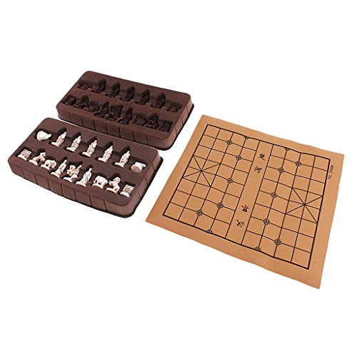 Exquisite Retro Chinese Chess Resin Terracotta Army Pieces Xiangqi Board Game for House Party Travel