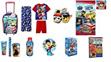 Paw Patrol Toddler Boys Rolling Suitcase Overnight Bag with 3 Pc Pajama Set Slippers Night Light PLUS Bathroom Accessories (Size 6 with XL Slippers)