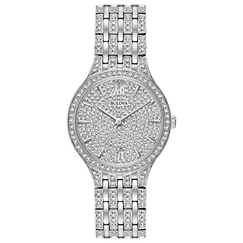 Bulova Women's Analog-Quartz Watch with Stainless-Steel Strap, Silver, 16 (Model: 96L243)