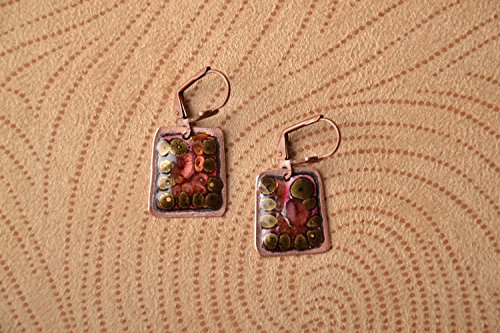 Handmade Rectangular Copper Earrings With Enamels