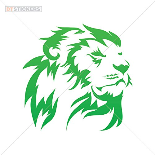 - Lions Colors & Sizes Variations Vinyl Sticker Decals Lion Head Sports Bike (9 X 8,78 in.) Green
