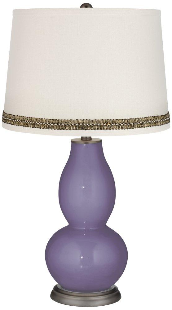 Purple Haze Double Gourd Table Lamp with Wave Braid Trim