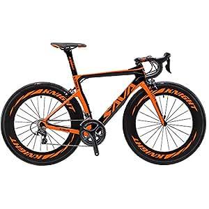 SAVADECK Phantom 2.0 700C Carbon Fiber Road Bike SHIMANO Ultegra 6800 22 Speed Group Set with HUTCHINSON 25C Tire and Fizik Saddle (Black Orange,48cm)