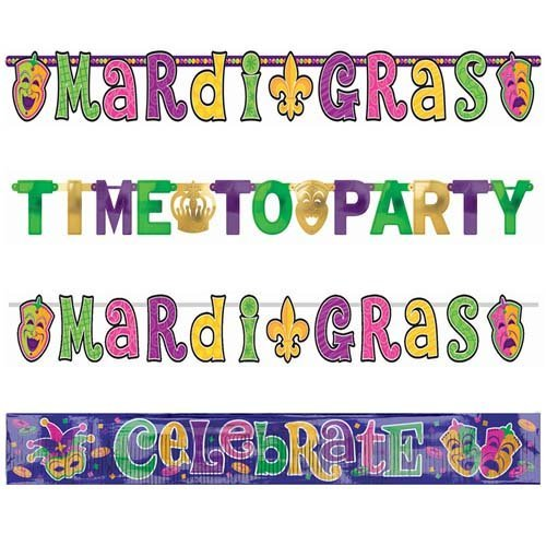 Mardi Gras Banner Combo Pack - 4ct by CoolGlow for $<!--$6.99-->