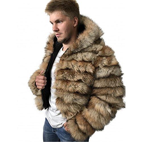Bomber Men coat jacket Hood natural fur fox ()