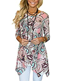 Women's Spring Floral Print 3/4 Sleeve Irregular Hem Asymmetrical Tunic Loose Long Blouse Tops