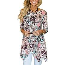 MIROL Women's Spring Floral Print 3/4 Sleeve Irregular Hem Asymmetrical Tunic Loose Long Blouse Tops