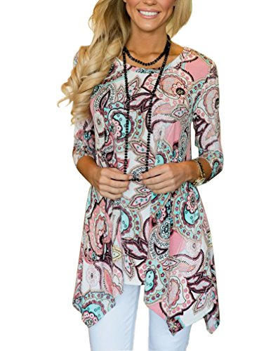 MIROL Womens Casual Fall Floral Print 3/4 Sleeve Tunic Loose Long Blouse Tops,Pink,Large (Tunic Top Womens)