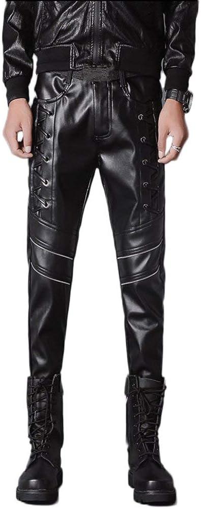 Hombre Pantalones Slim Pantalones De s Los Fit Chic Friends De Cuero De Imitación Correas Cruzadas De Color Sólido con Bolsillos Pantalones De Cuero Pantalones Casuales