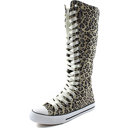 DailyShoes Womens Canvas Mid Calf Tall Boots Casual Sneaker Punk Flat, Beige Leopard Boots, Beige Lace